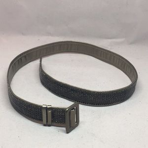 Bronze tone leather and mesh belt